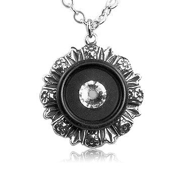 Black Floral Crystal Vintage Button Pendant - SWCreations  - 1
