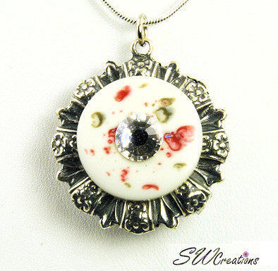 Reversible Floral Crystal Garnet Button Pendant - SWCreations  - 1