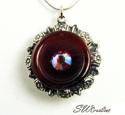 Reversible Floral Crystal Garnet Button Pendant - SWCreations  - 2