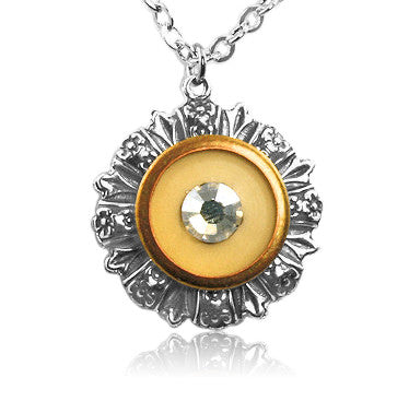 Golden Cream Crystal Vintage Button Pendant - SWCreations  - 1