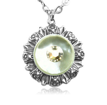 Golden Cream Crystal Vintage Button Pendant - SWCreations  - 2