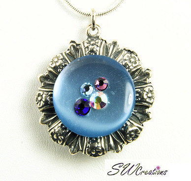 Reversible Blue Aqua Crystal Fusion Button Pendant - SWCreations  - 2