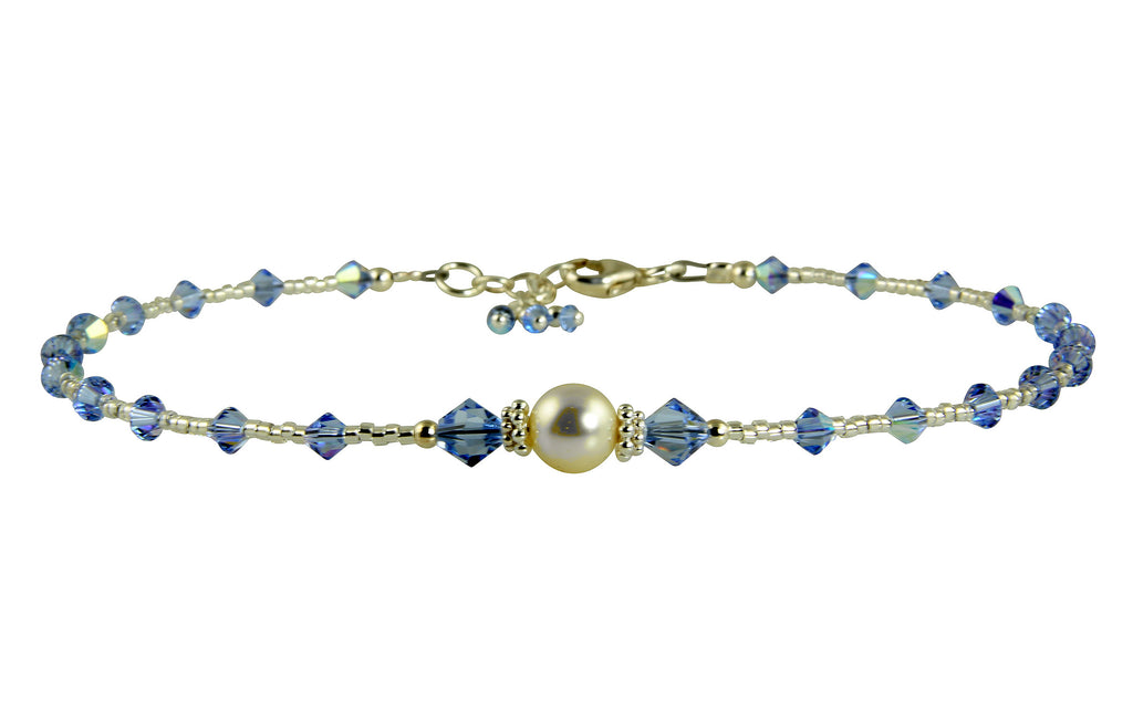 All that Glistens - Something Light Blue Wedding Sapphire Anklet