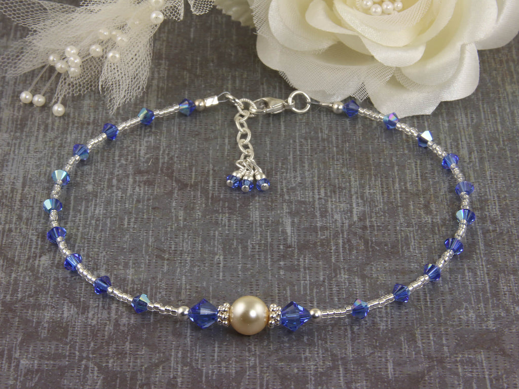 J'adore - Something Blue Wedding Sapphire Anklet