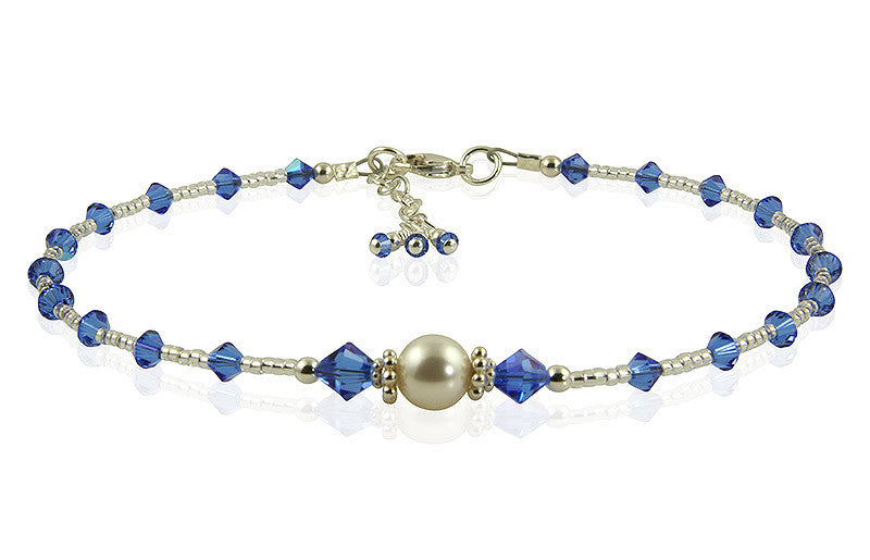 All that Glistens - Something Blue Wedding Sapphire Anklet - SWCreations