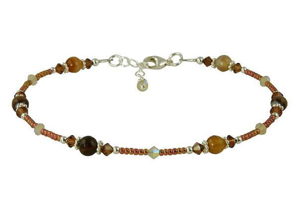 Chestnut Topaz Agate Gemstone Beaded Anklet