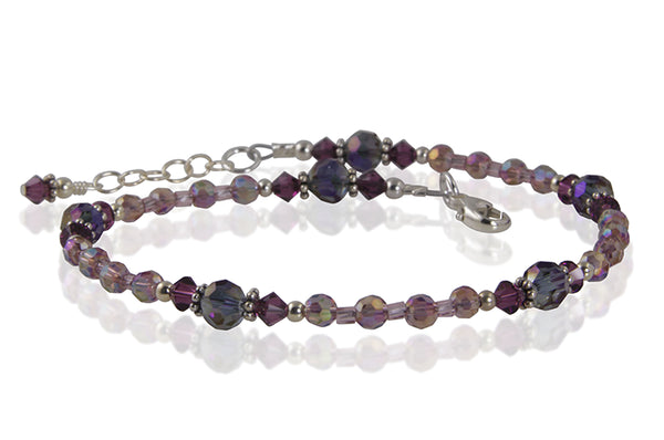 Amethyst Purple Crystal Beaded Anklet - SWCreations