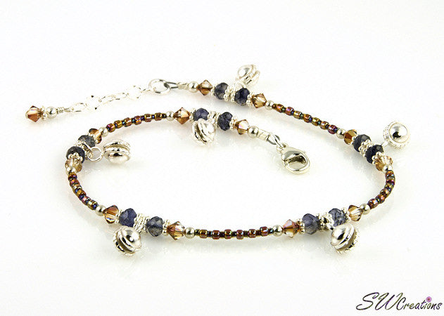 Copper Crystal Iolite Gemstone Gypsy Jewel Anklet - SWCreations