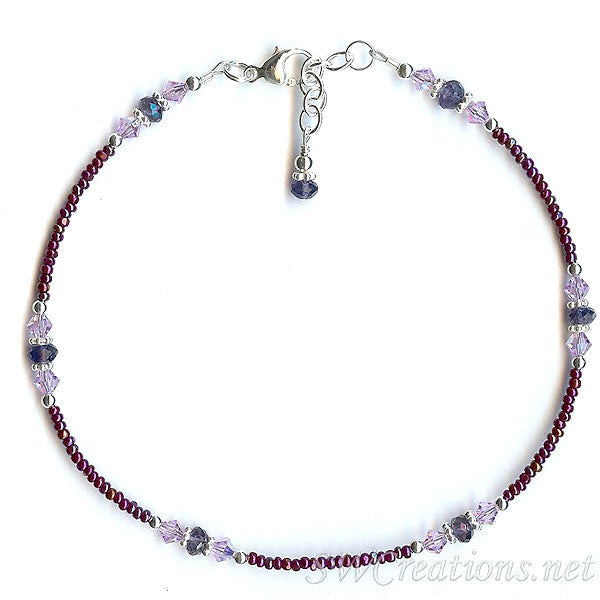 Iolite Violet Wine Gemstone Beaded Anklet - SWCreations