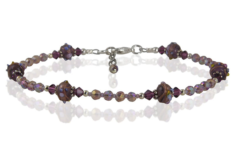 Amethyst Violet Crystal Beaded Anklet - SWCreations