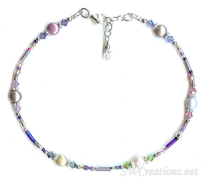 Blue Crystal Rose Pearl Pearl Silver Anklet - SWCreations