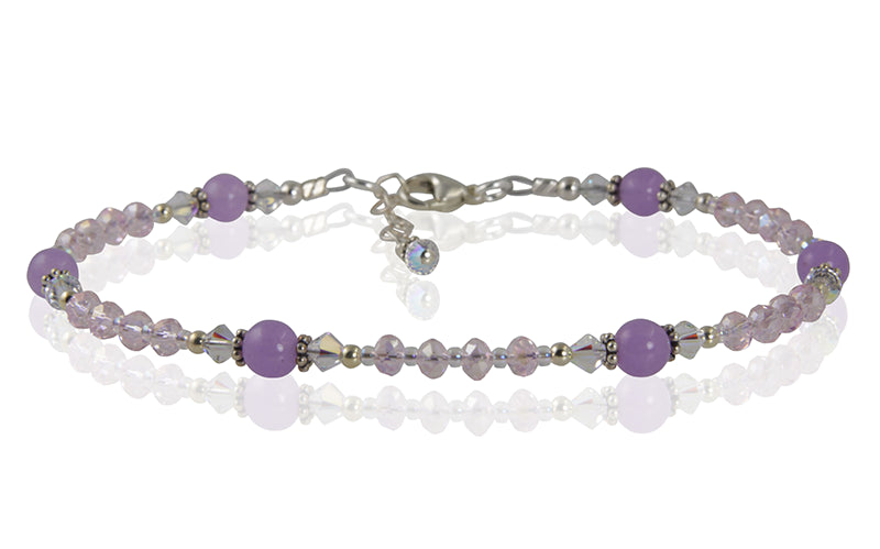 Lilac Purple Crystal Beaded Anklet - SWCreations