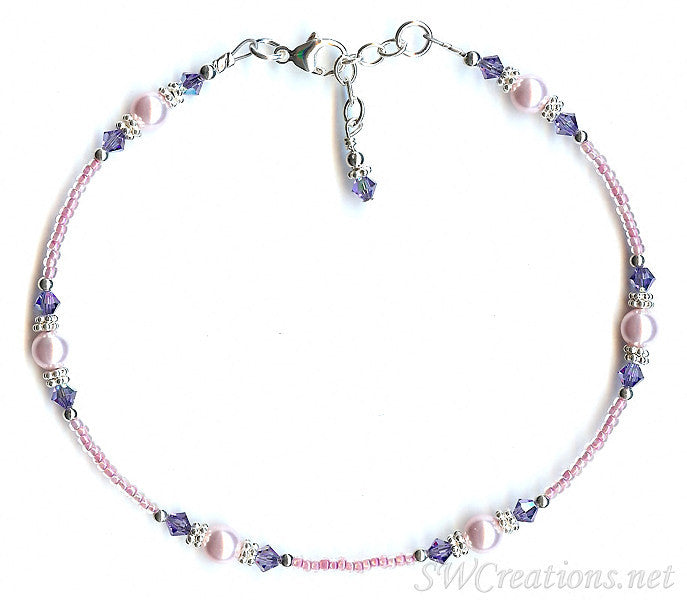 Tanzanite Crystal Pink Pearl Anklet - SWCreations