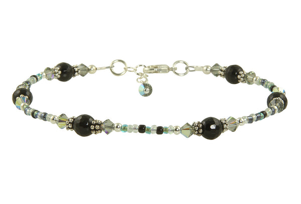 Shadow Agate Gemstone Beaded Anklet