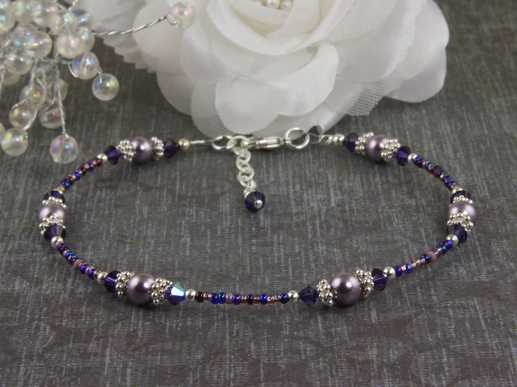Violet Mauve Crystal Beaded Anklet