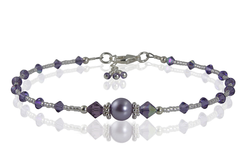 Crystal Tanzanite Pearl Beaded Anklet - SWCreations  - 1
