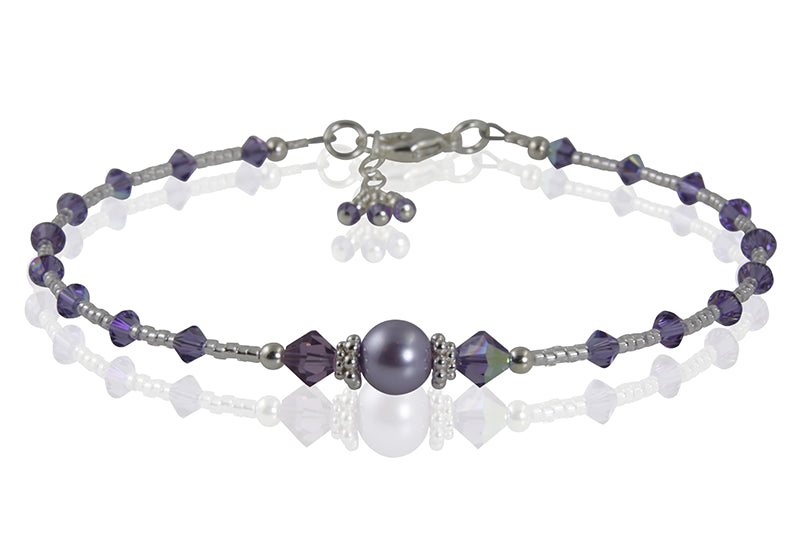 Crystal Tanzanite Pearl Beaded Anklet - SWCreations  - 2