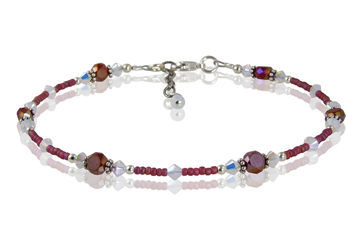 Opal Satin Ruby Crystal Beaded Anklet - SWCreations