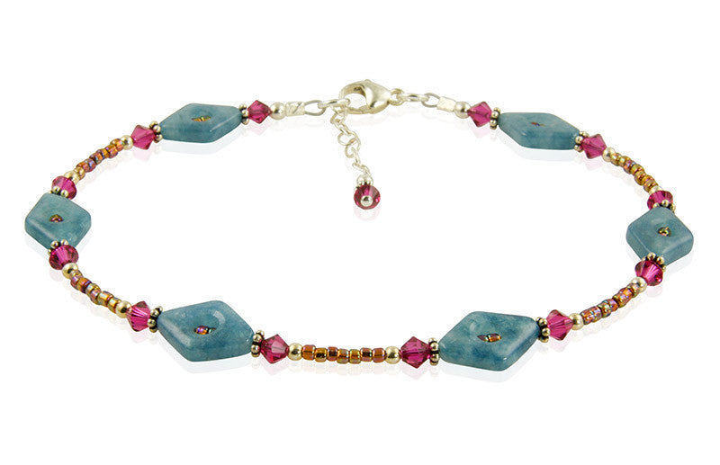 Ruby Blue Quartz Gemstone Anklet - SWCreations
