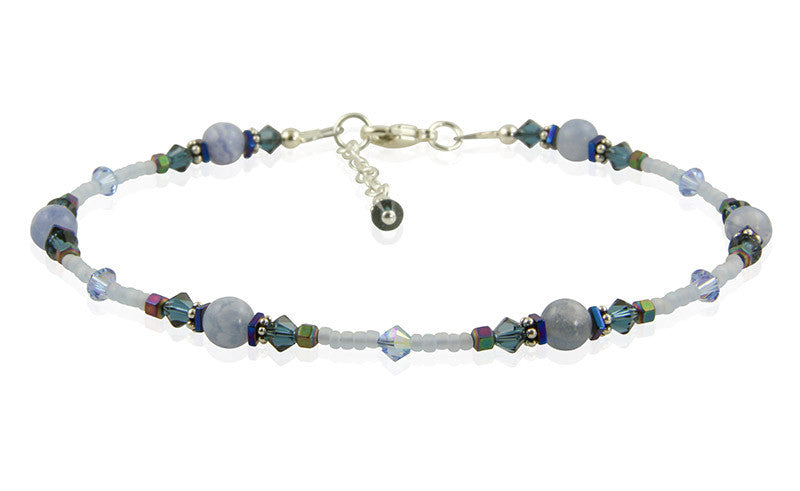 Blue Lace Agate Gemstone Anklet - SWCreations