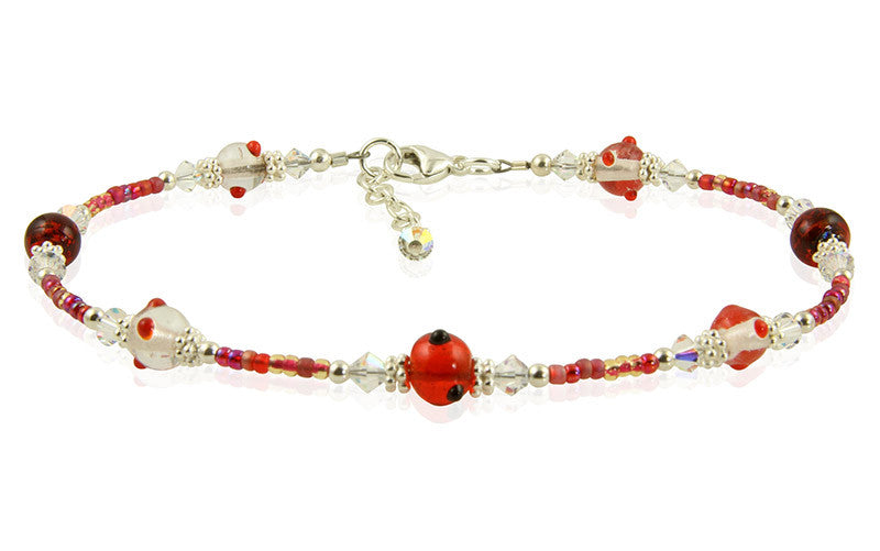 Red Crystal Glass Beaded Anklet - SWCreations