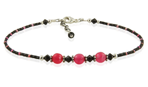 Safari Pink Agate Gemstone Anklet - SWCreations