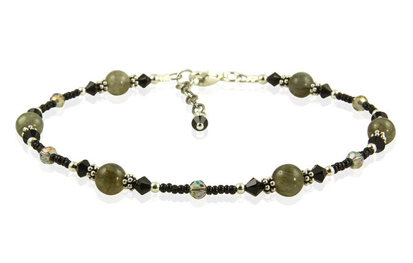 Black Labradorite Gemstone Beaded Anklet - SWCreations