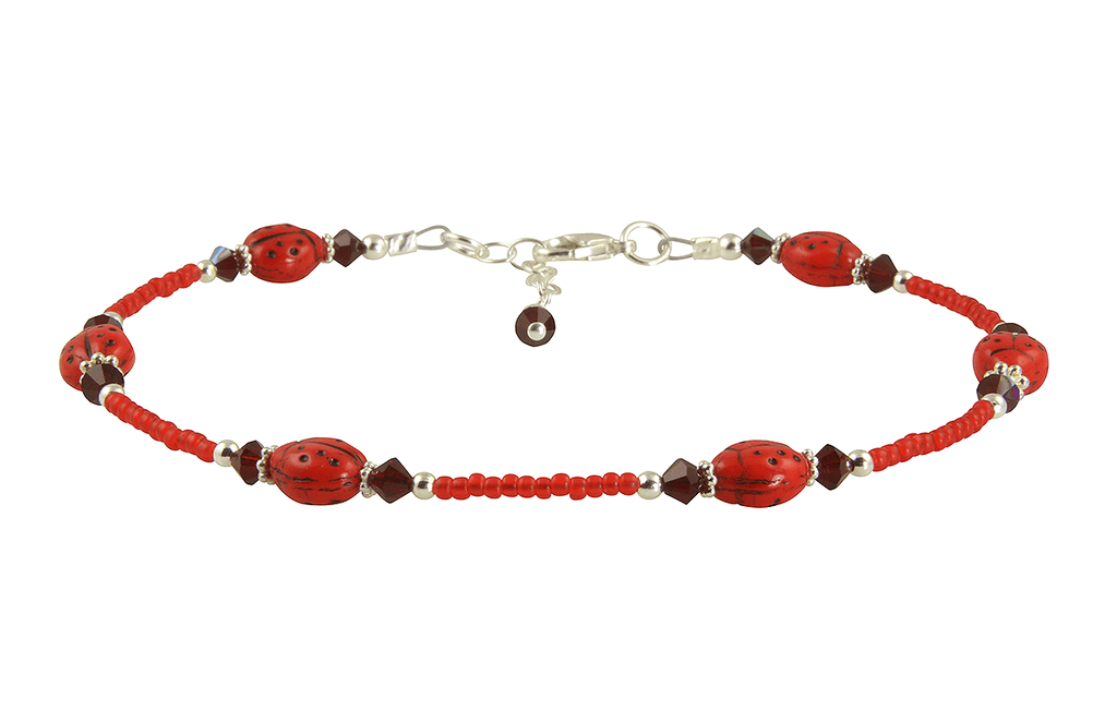 Candy Red Ladybug Beaded Bracelet