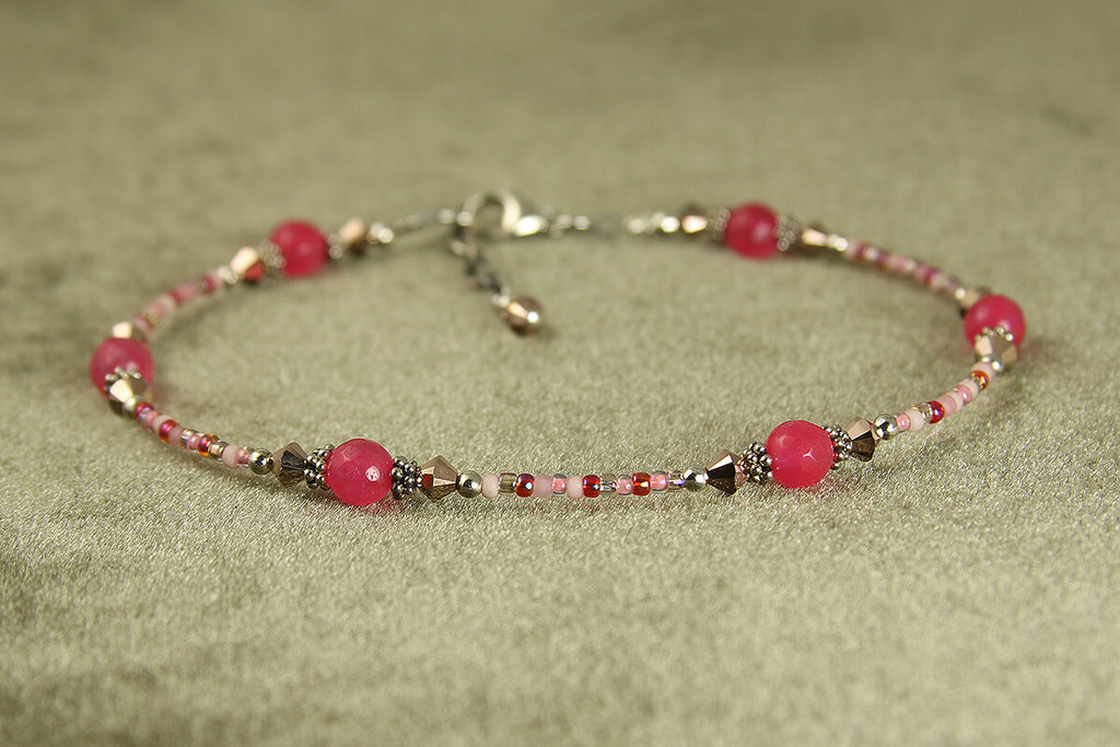 Rose Gold Pink Jade Beaded Anklet
