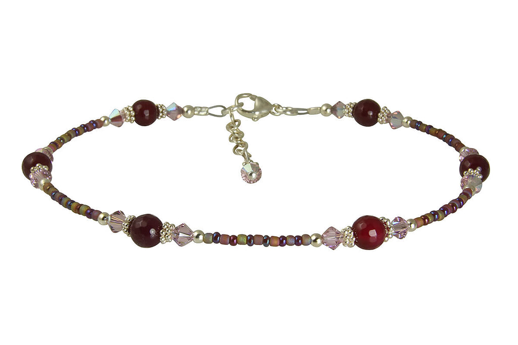 Glamour Red Agate Beaded Anklet