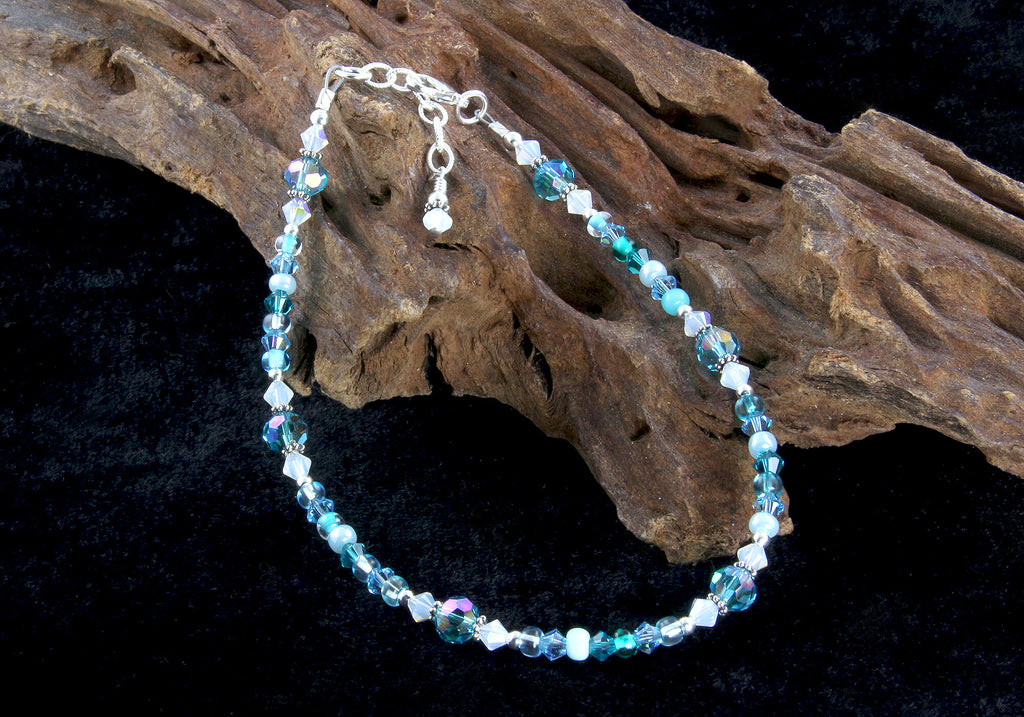 Aqua Opal Crystal Beaded Anklet