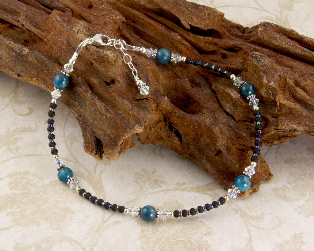 Blue Apatite Gemstone Beaded Anklet