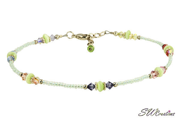 Green Cats Eye Crystal Beaded Anklet - SWCreations