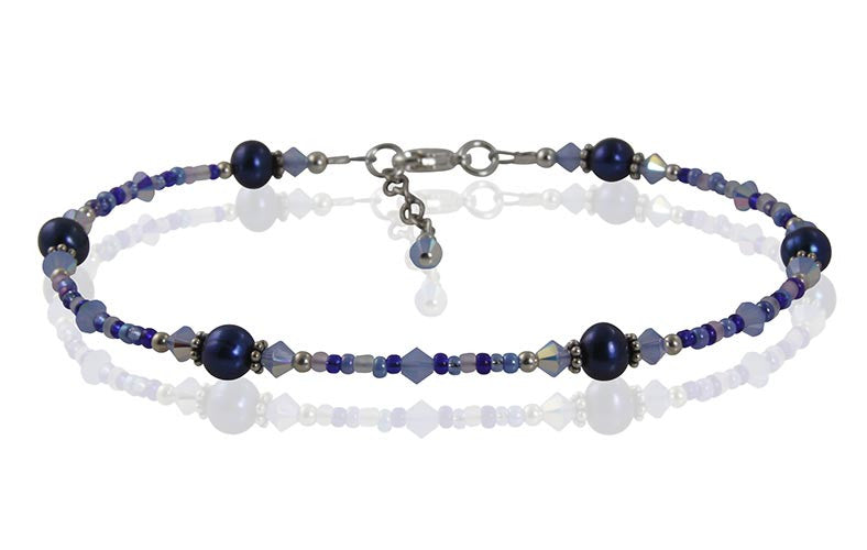 Vibrant Blue Pearl Beaded Anklet - SWCreations