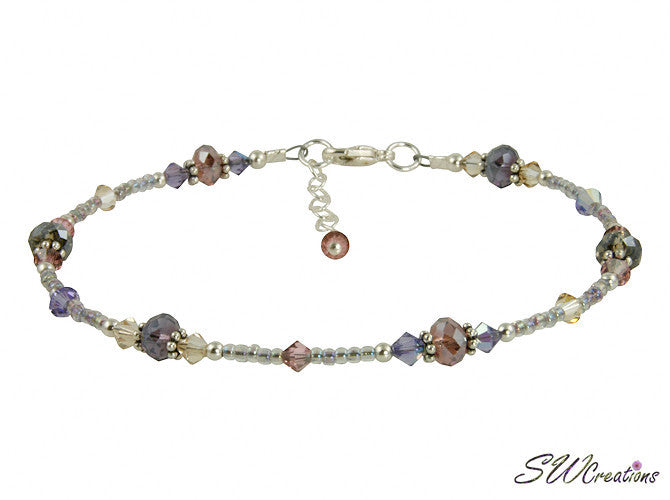 Shimmer Tanzanite Mauve Crystal Beaded Anklet - SWCreations