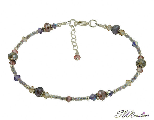 Shimmer Tanzanite Mauve Crystal Beaded Anklet - SWCreations  - 2