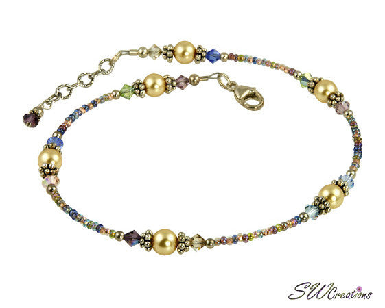 Golden Sunset Pearl Beaded Anklet - SWCreations