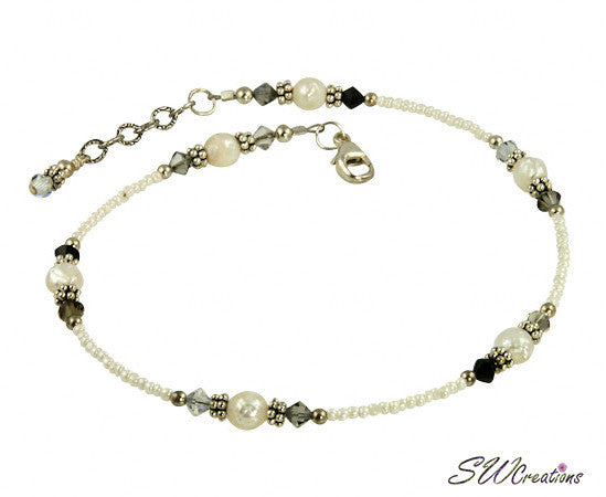 Earth Crystal Cream Beaded Anklet - SWCreations