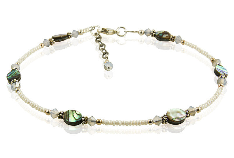 Gray Opal Green Abalone Shell Anklet - SWCreations