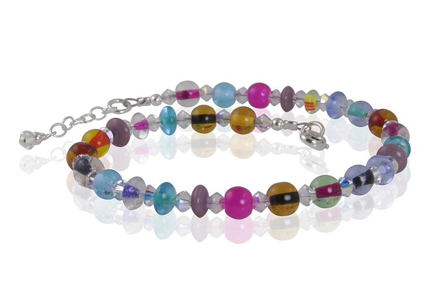 Prismatic Glass Crystal Beaded Anklet - SWCreations