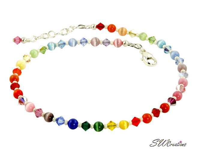 Rainbow Crystal Cats Eye Beaded Anklet - SWCreations