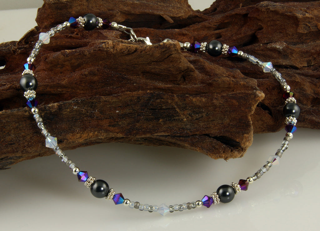 Shimmering Gray Crystal Beaded Anklet