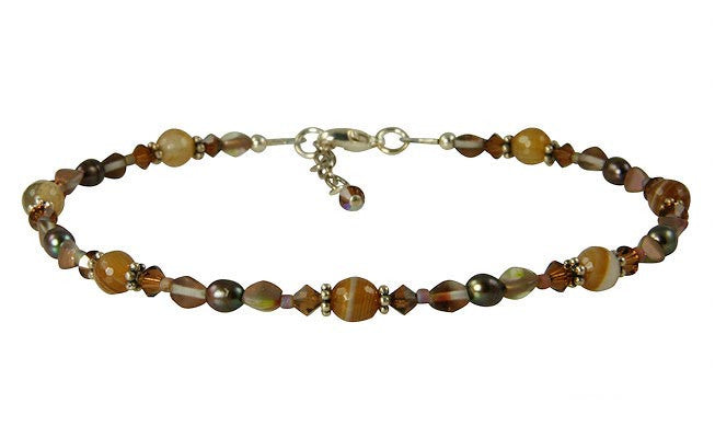 Chestnut Agate Gemstone Pearl Beaded Anklet - SWCreations
