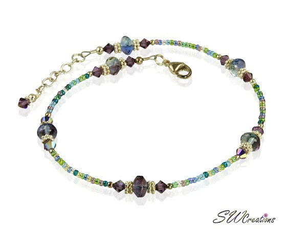 Violet Blue Green Crystal Beaded Anklet - SWCreations