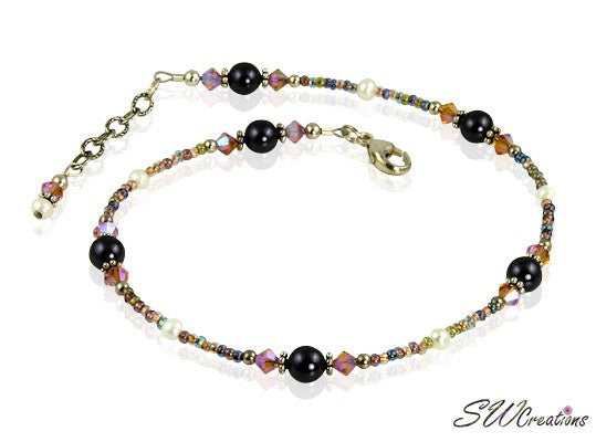 Topaz Purple Pearl Sunset Anklet - SWCreations
