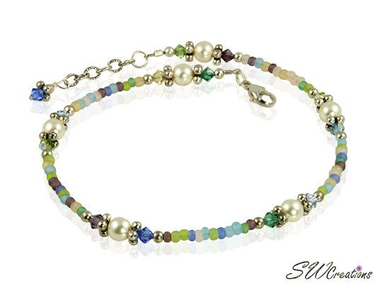 Spring Mist Pastel Crystal Pearl Anklet - SWCreations