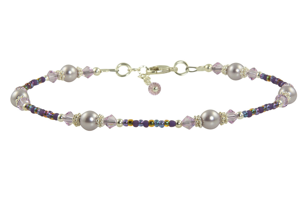 Lilac Mauve Pearl Beaded Anklet