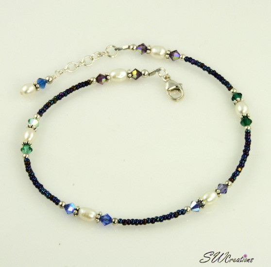 Winter Tanzanite Sapphire Beaded Anklet - SWCreations
