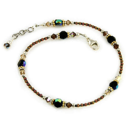 Topaz Jet Gold Silver Beaded Anklet - SWCreations