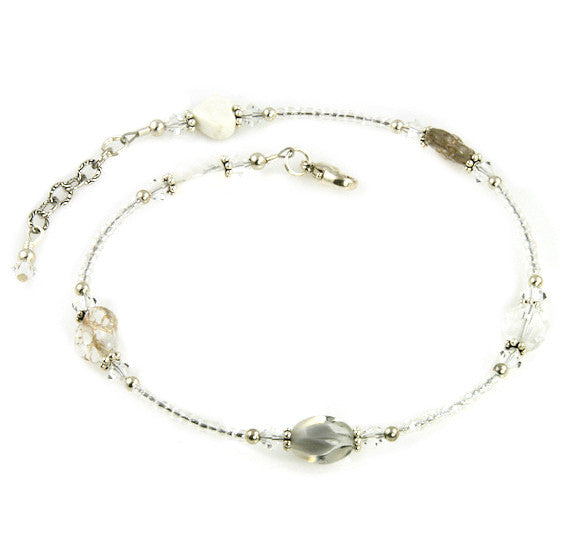 White Crystal Czech Beaded Anklet - SWCreations